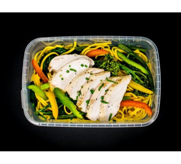 Salt & pepper chicken, noodles & mixed wok greens