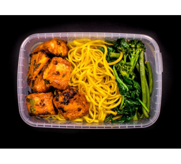 Tikka salmon, noodles & mixed wok greens