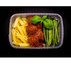 Lean beef meatballs in Napoli sauce, whole wheat pasta & green beans
